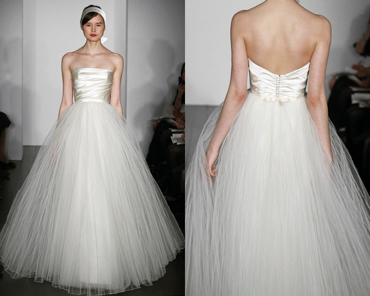 Simple Ball Gown Princess Strapless Plain Satin Tulle: Sofisticated Bride On A Budget